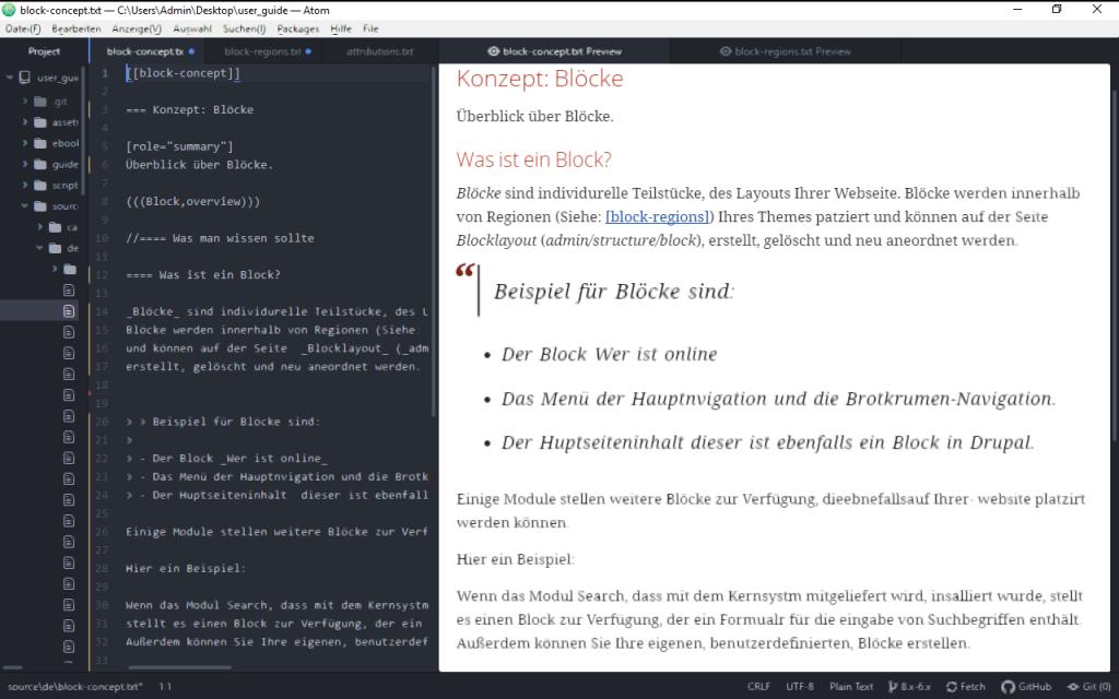 Drupal User-Guide unter Winndows mit Atom übersetzen
