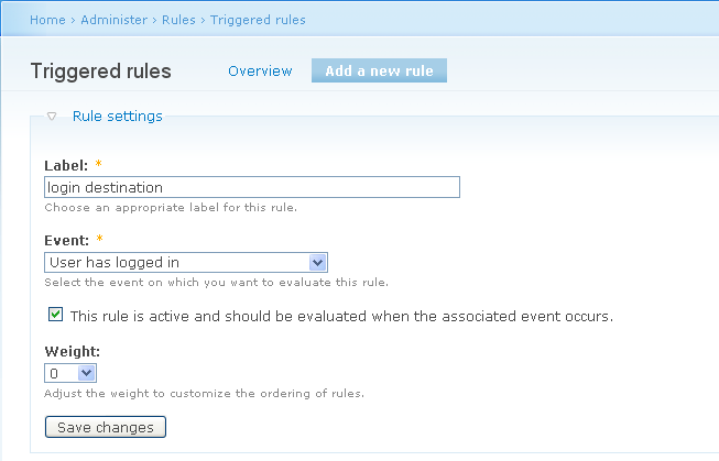 create a new rule: add rule user has logged in